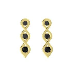 Round Black Diamond 14K Yellow Gold Earring with Black Diamond and Black Onyx