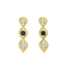 Round Black Diamond 14K Yellow Gold Earring with Diamond