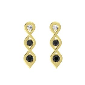 Round Black Diamond 14K Yellow Gold Earring with White Sapphire and Black Diamond