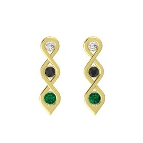 Round Black Diamond 14K Yellow Gold Earring with White Sapphire and Emerald