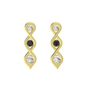 Round Black Diamond 14K Yellow Gold Earring with White Sapphire