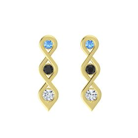 Round Black Diamond 14K Yellow Gold Earring with Blue Topaz and Diamond