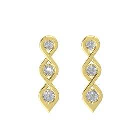 Round Rock Crystal 14K Yellow Gold Earrings with Rock Crystal