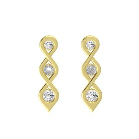 Round Rock Crystal 14K Yellow Gold Earring with White Sapphire