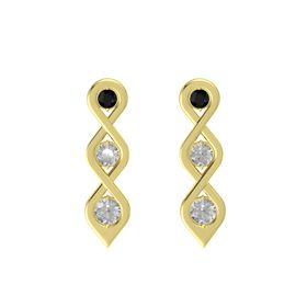 Round Rock Crystal 14K Yellow Gold Earring with Black Onyx and Rock Crystal