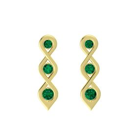 Round Emerald 14K Yellow Gold Earring with Emerald