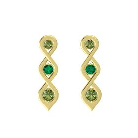 Round Emerald 14K Yellow Gold Earring with Green Tourmaline