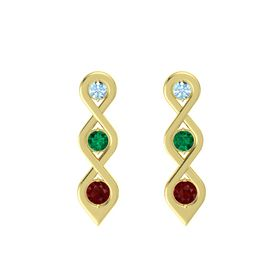Round Emerald 14K Yellow Gold Earrings with Aquamarine & Ruby