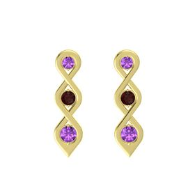 Round Red Garnet 14K Yellow Gold Earring with Amethyst