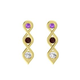 Round Red Garnet 14K Yellow Gold Earrings with Amethyst & White Sapphire