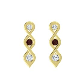 Round Red Garnet 14K Yellow Gold Earring with Diamond