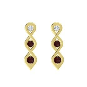 Round Red Garnet 14K Yellow Gold Earrings with Diamond & Red Garnet