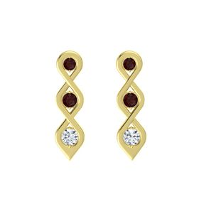 Round Red Garnet 14K Yellow Gold Earring with Red Garnet and Diamond