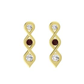 Round Red Garnet 14K Yellow Gold Earrings with White Sapphire
