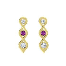 Round Rhodolite Garnet 14K Yellow Gold Earring with Diamond