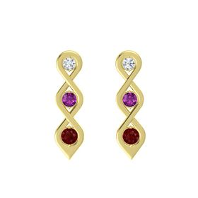 Round Rhodolite Garnet 14K Yellow Gold Earrings with Diamond & Ruby