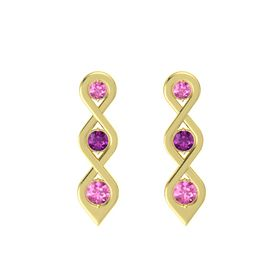 Round Rhodolite Garnet 14K Yellow Gold Earring with Pink Sapphire