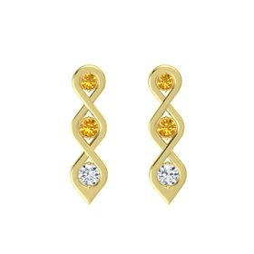 Round Citrine 14K Yellow Gold Earring with Citrine and Diamond