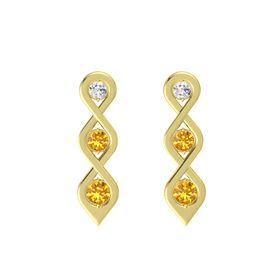 Round Citrine 14K Yellow Gold Earring with White Sapphire and Citrine