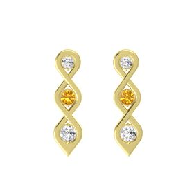 Round Citrine 14K Yellow Gold Earring with White Sapphire