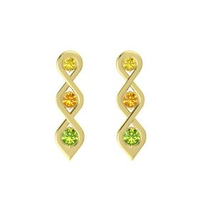 Round Citrine 14K Yellow Gold Earring with Yellow Sapphire and Peridot