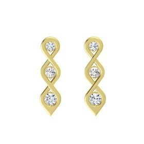 Round White Sapphire 14K Yellow Gold Earring with Diamond