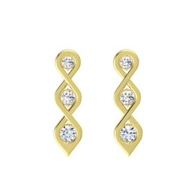 Round White Sapphire 14K Yellow Gold Earring with White Sapphire and Diamond
