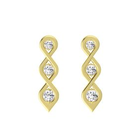 Round White Sapphire 14K Yellow Gold Earring with White Sapphire