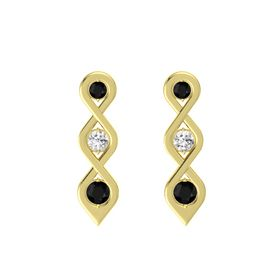 Round White Sapphire 14K Yellow Gold Earring with Black Onyx