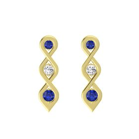 Round White Sapphire 14K Yellow Gold Earring with Blue Sapphire