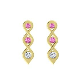 Round Pink Sapphire 14K Yellow Gold Earring with Pink Sapphire and Diamond