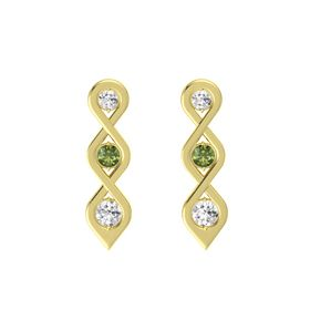 Round Green Tourmaline 14K Yellow Gold Earring with White Sapphire