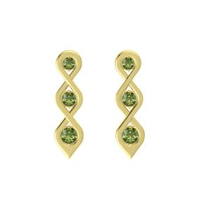 Round Green Tourmaline 14K Yellow Gold Earring with Green Tourmaline