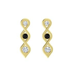 Round Black Onyx 14K Yellow Gold Earring with Diamond