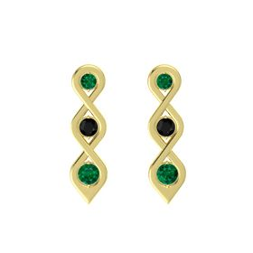 Round Black Onyx 14K Yellow Gold Earring with Emerald