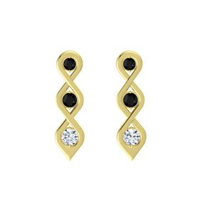 Round Black Onyx 14K Yellow Gold Earring with Black Onyx and Diamond