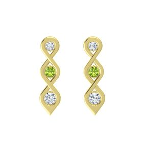 Round Peridot 14K Yellow Gold Earring with Diamond
