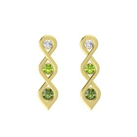 Round Peridot 14K Yellow Gold Earring with White Sapphire and Green Tourmaline