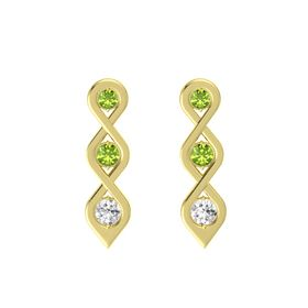 Round Peridot 14K Yellow Gold Earring with Peridot and White Sapphire