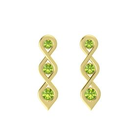 Round Peridot 14K Yellow Gold Earring with Peridot
