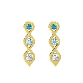 Round Aquamarine 14K Yellow Gold Earring with London Blue Topaz and White Sapphire