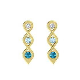 Round Aquamarine 14K Yellow Gold Earrings with Diamond & London Blue Topaz