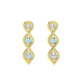 Round Aquamarine 14K Yellow Gold Earring with Diamond