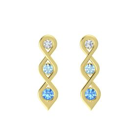 Round Aquamarine 14K Yellow Gold Earring with Diamond and Blue Topaz
