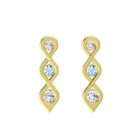 Round Aquamarine 14K Yellow Gold Earring with White Sapphire