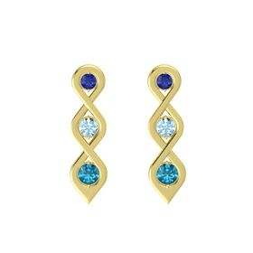 Round Aquamarine 14K Yellow Gold Earring with Blue Sapphire and London Blue Topaz
