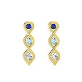 Round Aquamarine 14K Yellow Gold Earring with Blue Sapphire and White Sapphire