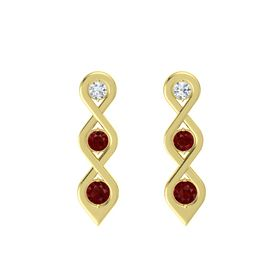 Round Ruby 14K Yellow Gold Earring with Diamond and Ruby