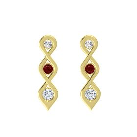 Round Ruby 14K Yellow Gold Earring with White Sapphire and Diamond