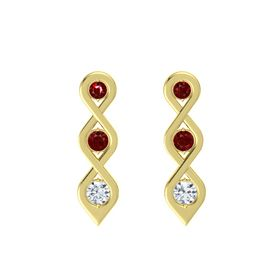 Round Ruby 14K Yellow Gold Earring with Ruby and Diamond